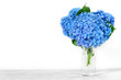 Still life with a beautiful bouquet of blue hydrangea flowers. holiday or wedding background with copy space