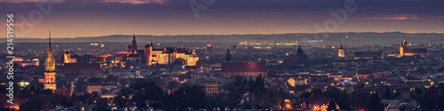 Krakow, Poland night panorama of historical old city - 214519556