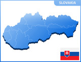 Highly detailed three dimensional map of Slovakia with regions border