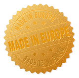 MADE IN EUROPE gold stamp award. Vector gold award of MADE IN EUROPE label. Text labels are placed between parallel lines and on circle. Golden area has metallic texture. - 214531127