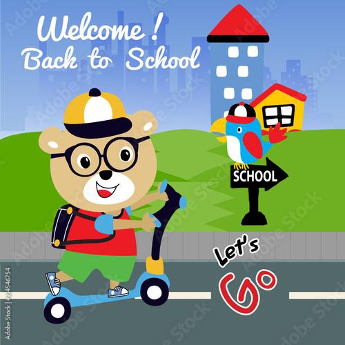 Fotobehang Auto back to school cartoon vector