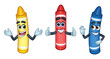 3 Cartoon Character Crayons: Red, Yellow, and Blue_Vector Illustration EPS 10 - 214548140