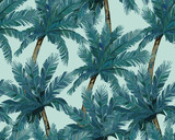 Summer seamless pattern. Tropical palm trees background. Jungle print. Vector illustration - 214549784