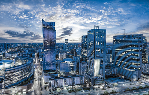 Warsaw city with modern skyscraper at sunset © Mike Mareen