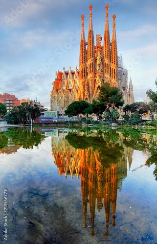 In de dag Barcelona Sagrada Familia in Barcelona, Spain.