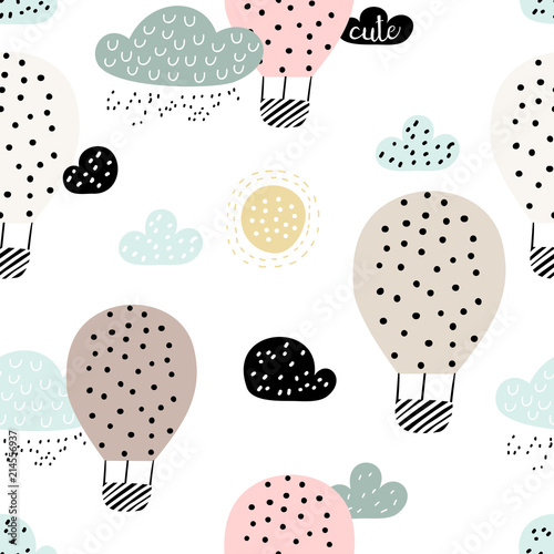 obraz lub plakat Baby seamless pattern with hot air ballon in the sky. Perfect for fabric, textile, wrapping. Cute cartoon background. Scandinavian style.