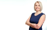 Attractive middle aged woman with folded arms on white background - 214559971