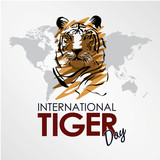 International Tiger day. Tiger head vector template illustration. July 29. Template for poster banner card design with world map isolated flat style tiger face and inscription.