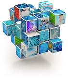 biology research photo collage cube-shaped isolated on white - 214571922