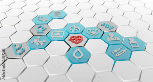 Leinwandbild Motiv hexagonal pattern of medical icons, 3d illustration