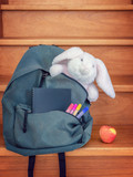 School bag with cuddly toy, supplies and lunch - 214585116