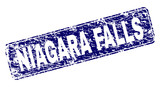 NIAGARA FALLS stamp seal print with grunge texture. Seal shape is a rounded rectangle with frame. Blue vector rubber print of NIAGARA FALLS caption with grunge texture.