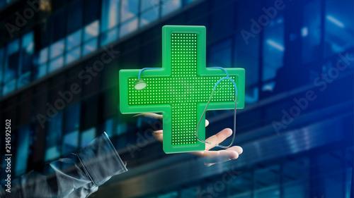 Biznesmen trzyma Oświetleniowego apteka krzyż i stetoskop - 3d odpłacają się