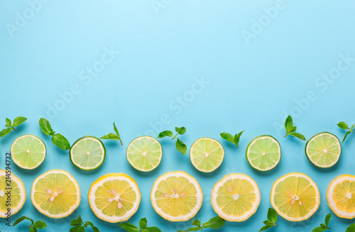 fresh lemon and lime - 214594732