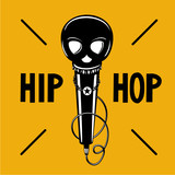 Hip-hop party poster with microphone and skull. Rap illustration with black head. Vector sign.
