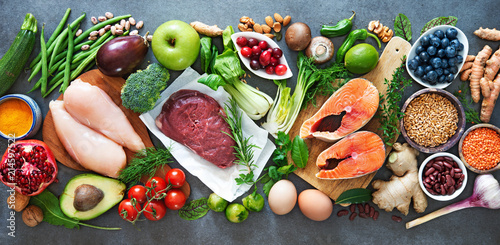 Leinwanddruck Bild Balanced diet food background