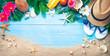 Leinwandbild Motiv Straw hat with a exotic cocktail and sunglasses on sand beach