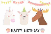 Hand Drawn Birthday Card  Cute Funny Unicorn Llama Moose In Party Hats Bunting Cupcakes Quote  Objects Scandinavian Style Flat Design  Illustration Concept For Kids Print Sticker