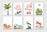 Hand drawn vector abstract graphic cartoon summer time flat illustrations cards template collection set with beach people,camping and bike,palm tree and tropical birds isolated on white background - 214598379