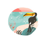 Hand drawn vector abstract cartoon summer time graphic illustrations template background badge design with ocean beach landscape,pink sunset and beauty toucan bird with copy space place for your text - 214598737