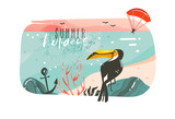 Hand drawn vector abstract cartoon summer time graphic illustrations art template banner background with ocean beach landscape,pink sunset view,beauty toucan with Summer Holidays typography quote - 214598778