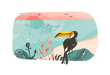 Hand drawn vector abstract cartoon summer time graphic illustrations art template banner background with ocean beach landscape,pink sunset view,beauty toucan isolated on white background - 214598791