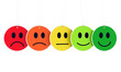 From sad to happy afce expresions - colored hanging faces