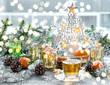 Christmas window decoration golden lights tea - 214607938