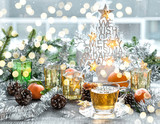 Christmas window decoration golden lights tea