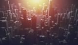 Futuristic city with sun shining - 214612931