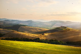 Italy. Tuscany farmland and rolling hills; summer countryside Landscape