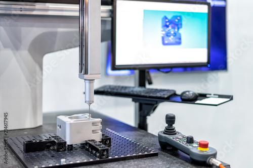 Leinwandbild Motiv Inspection dimension aluminum automotive parts by CMM in factory