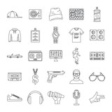 Hiphop rap swag music dance icons set. Outline illustration of 16 hiphop rap swag music dance vector icons for web - 214624167