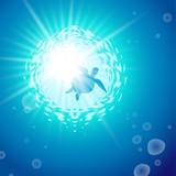 輝く青い海とウミガメ