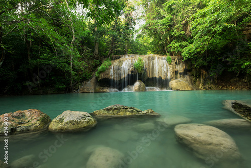 Erawan waterfall located Kanchanaburi Province, Thailand - 214640311