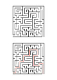 A square maze for children. Simple flat vector illustration isolated on white background. With the answer. - 214642956
