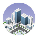Isometric icon of a city with houses streets of skyscrapers. Vector illustration for web design.