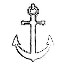 Grunge Nautical Anchor Object Ship Symbol Sticker