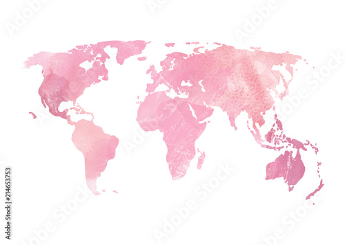Soft Pink Purple World map illustration Watercolor stains texture - 214653753
