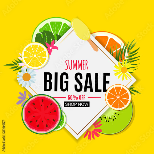 Abstract Summer Sale Background with Fresh Fruits. Vector Illustration - 214660127