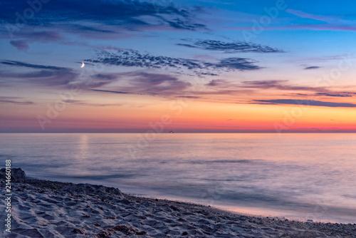Foto Spatwand Strand Sunset on the beach at Dranske on Rügen