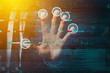 Leinwandbild Motiv Biometric fingerprint scanner, conceptual image