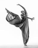 Beuatiful female dancer. White background - 214674394