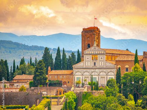 Fotobehang Toscane Basilica San Miniato al Monte in Florence, Tuscany, Italy.