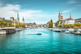 Zürich skyline with Limmat river in summer, Switzerland