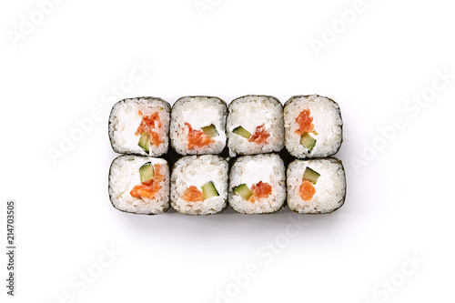Sushi with Salmon Cucumber and Cream Cheese Inside