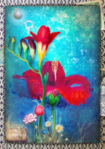 Aluminium Imagination Background blue with freesia, tulip, carnation, dayy and hibiscus flowers.