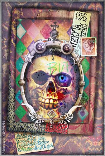 Aluminium Imagination Esoteric and dark collage with scraps and skull
