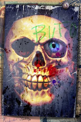 Aluminium Imagination Nightmares. Graffiti with skull