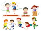 Set of kids doing sport activies